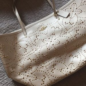 Coach tote with gold studs